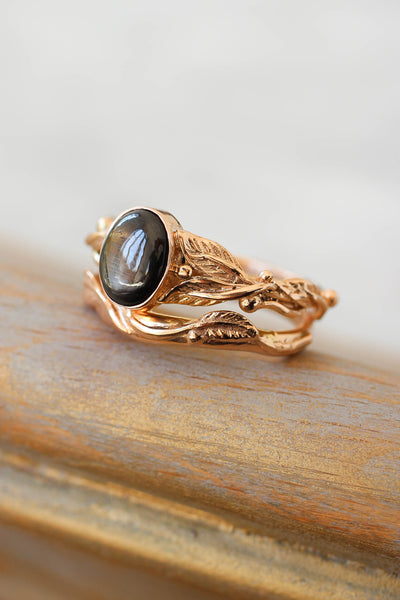 Wedding and engagement ring set with black star sapphire / Cornus and Twig - Eden Garden Jewelry