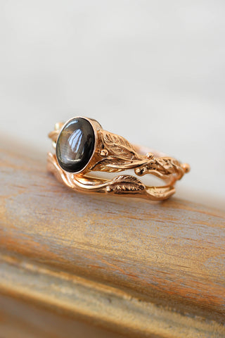 Wedding and engagement ring set with black star sapphire / Cornus and Twig