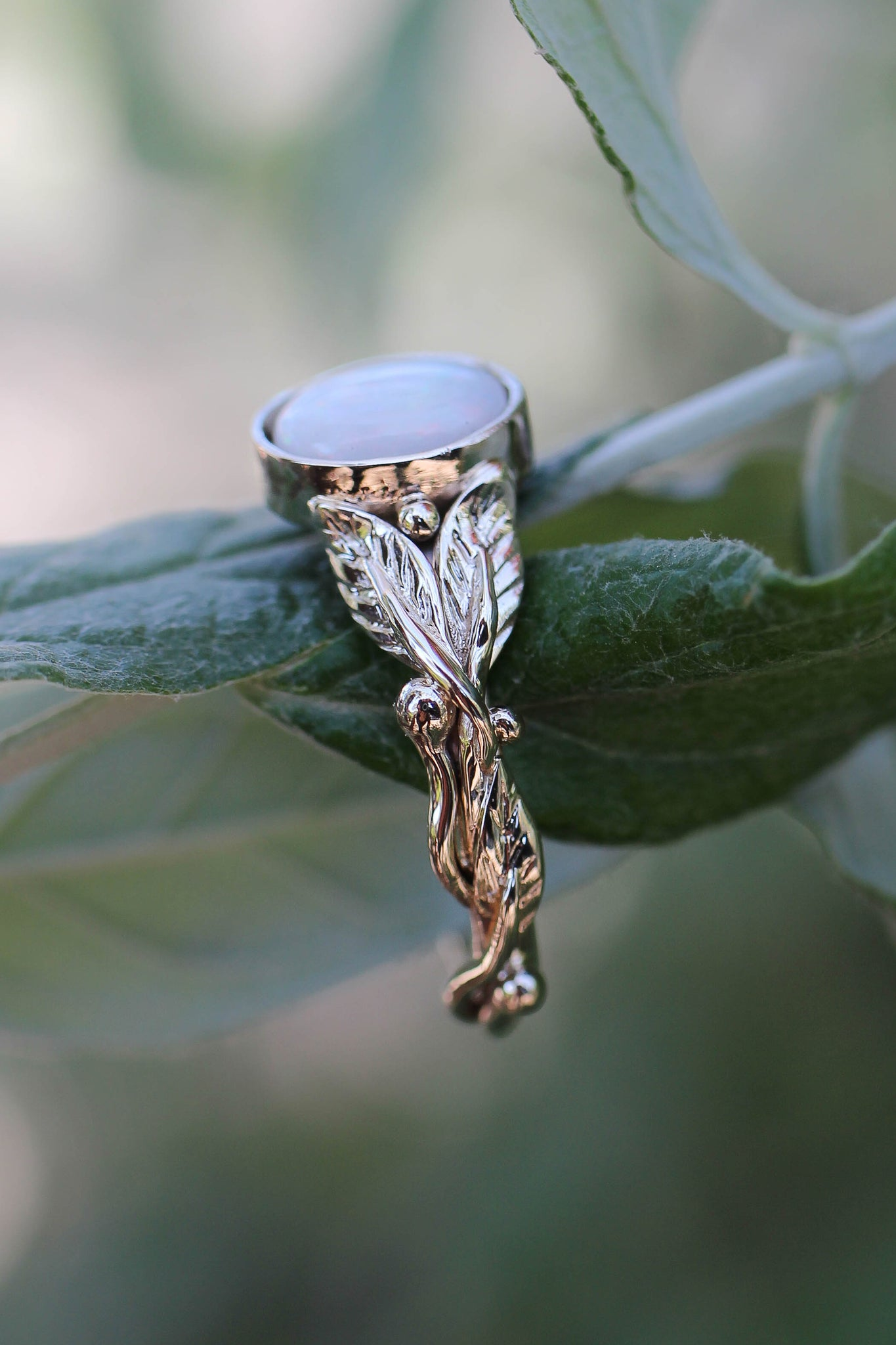White opal engagement ring / Cornus oval cab - Eden Garden Jewelry