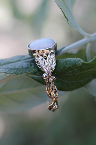 White opal engagement ring / Cornus