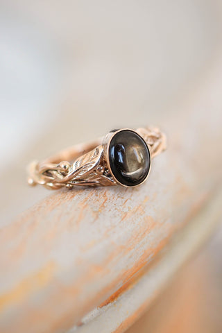 Black star sapphire engagement ring, leaves band / Cornus oval cab - Eden Garden Jewelry™