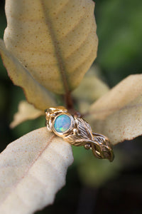 Leaves engagement ring with opal, gold branch ring / Tilia