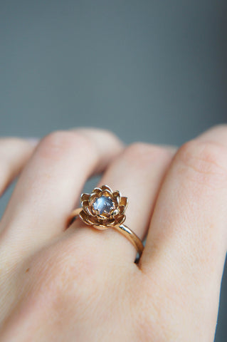 Yellow gold lotus ring with moonstone, flower engagement ring