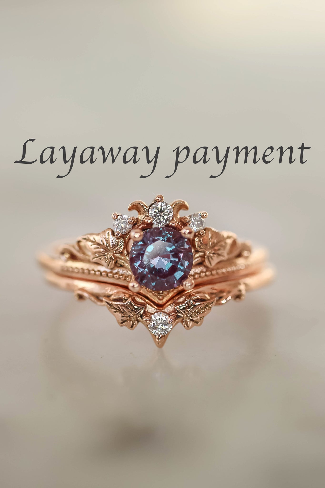 LAYAWAY 3 months: Bridal ring set with alexandrite and diamonds / Ariadne - Eden Garden Jewelry