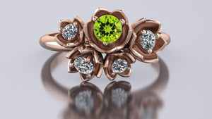 Custom order: lily of the valley ring with CZ and peridot