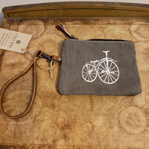 Bike print canvas leather coin purse