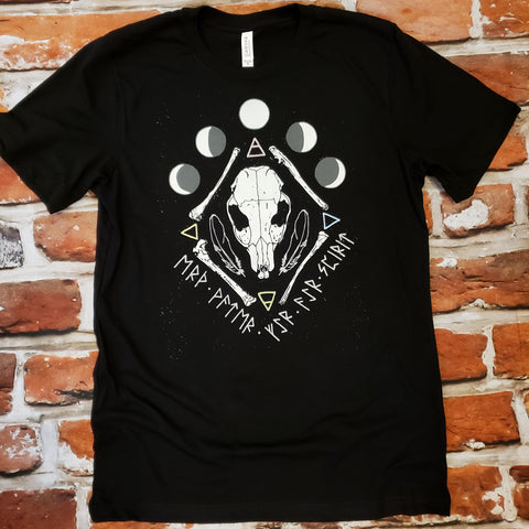 Elemental skull runes and moons unisex tshirt