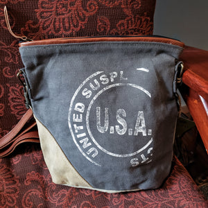 U.S.A. re-purposed canvas bag
