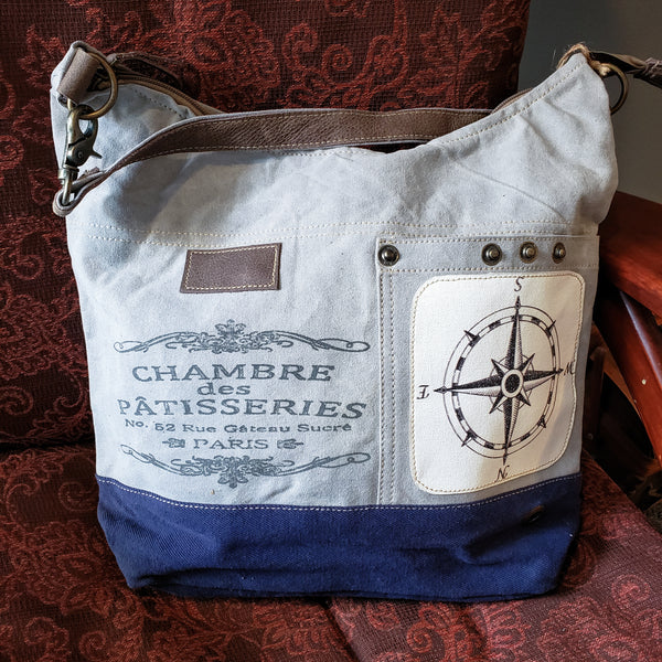 Nautical re-purposed canvas bag