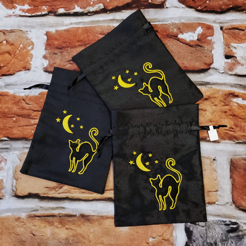 Black Cat & Moon organza pouch
