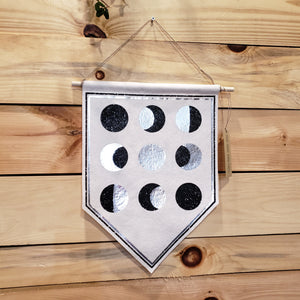 Metallic Moon phase wall hanging