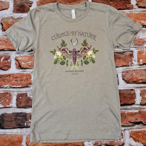 Curious by Nature moth tshirt