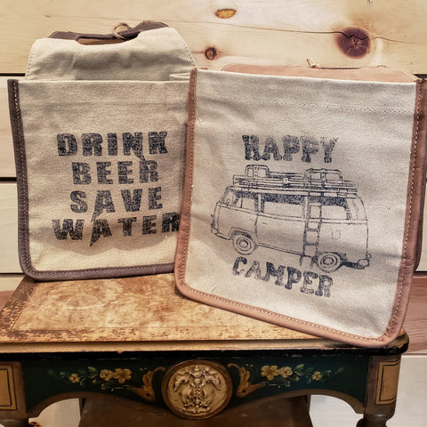 6-pack Beer carrier, canvas and leather