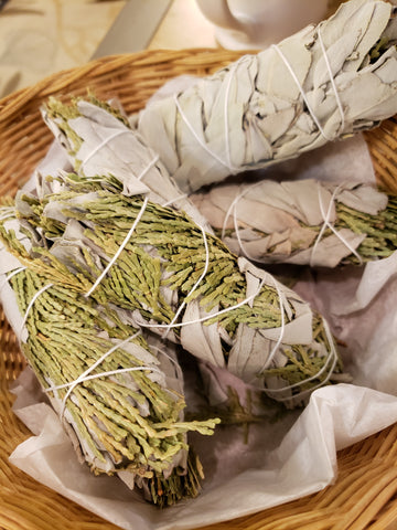 Cedar & White Sage smudge bundle