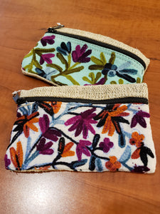 Embroidered floral hemp zipper pouch