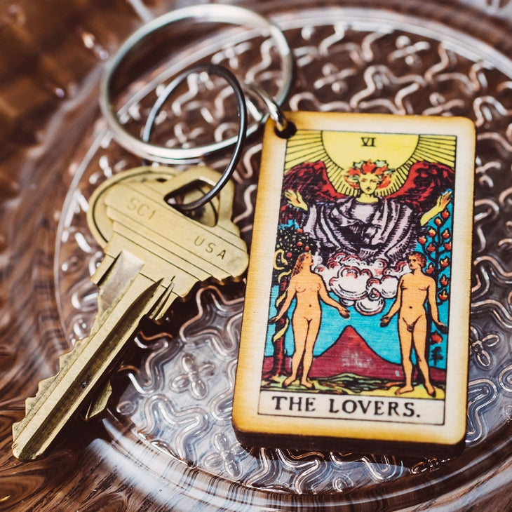 The Lovers tarot wooden keychain