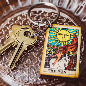The Sun tarot wooden keychain