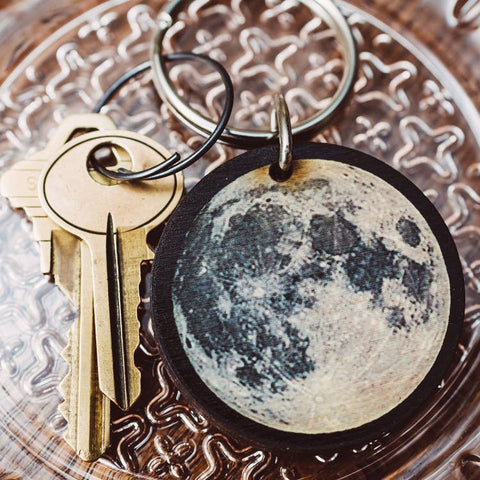 Full Moon wooden keychain