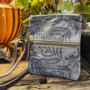 Grey Leaf passport bag