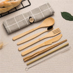 Bamboo Cutlery Set - Knife Fork Spoon Toothbrush Chopsticks Straw :Korean style