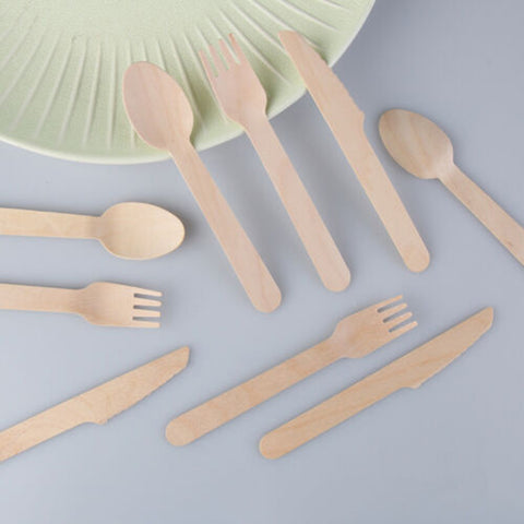 Bamboo Disposable Cutlery/Dinnerware 100pcs - Knives Forks Spoons