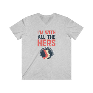 I'm with all the Hers Men's Fitted V-Neck Short Sleeve Tee