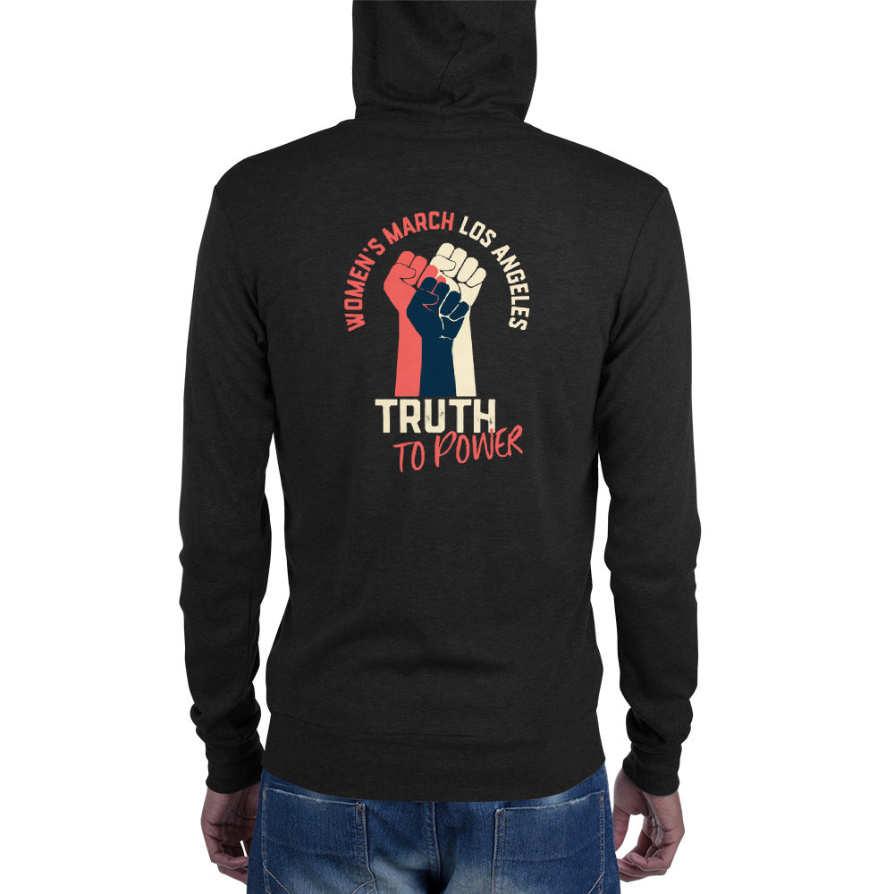 Truth to Power Unisex zip hoodie - logo on back
