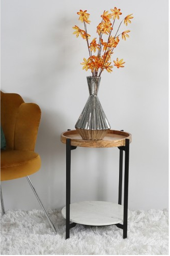 Natural Wood And White End Table