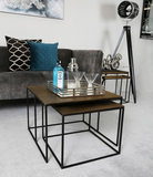 Square Black And Gold Nesting Tables Set Of 2