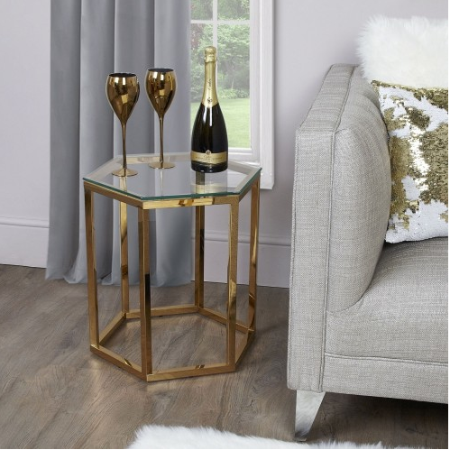 Hexagon Gold Metal Side Table