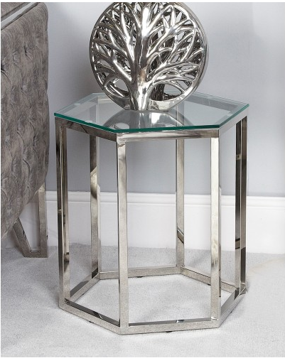 Hexagon Silver Stainless Steel Side Table