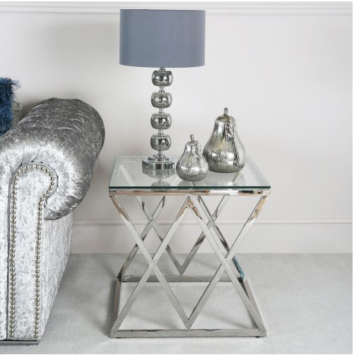 Elegant Stainless Steel End Table