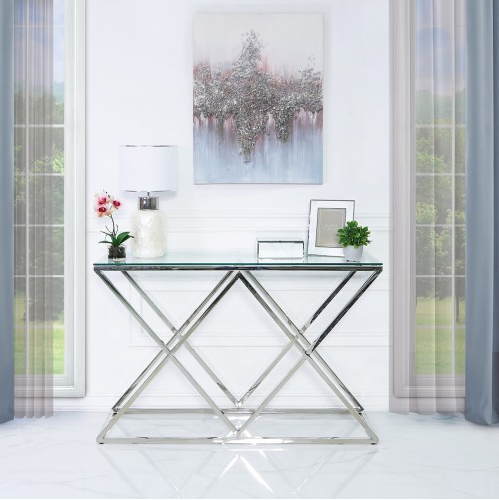 Elegant Stainless Steel Console Table