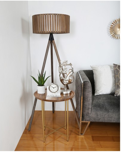 Natural Wood And Gold Side Table