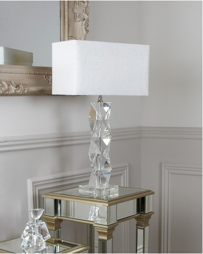 Crystal Twist Table Lamp With White Shade