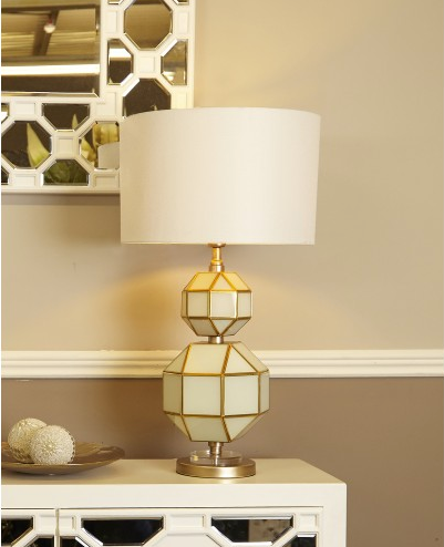 White And Gold Glass Table Lamp