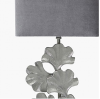 Leaf Base Table Lamp With Grey Velvet Shade