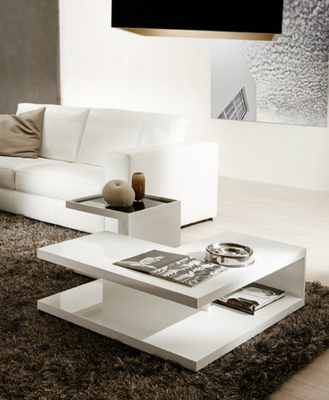 White Gloss Coffee Table With Removable Serving Table