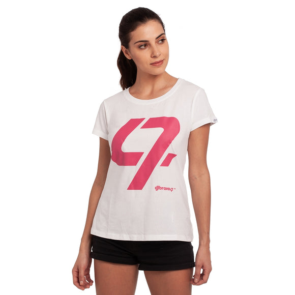 A White t-shirt with the Pink 47 logo
