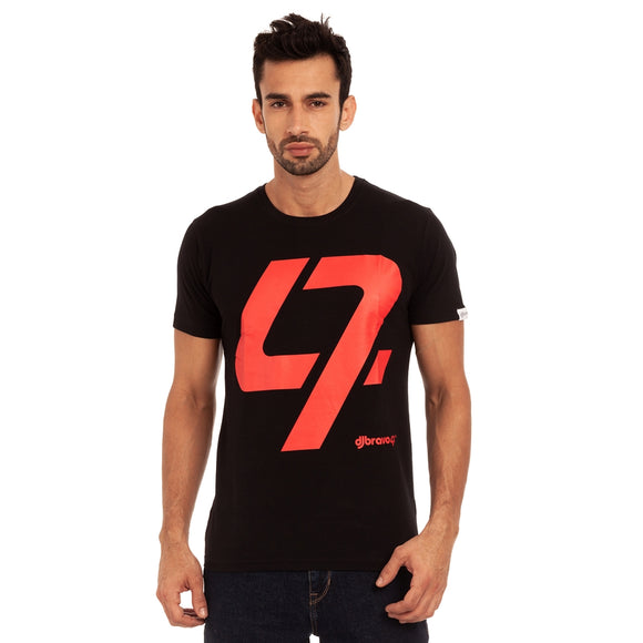 A Black t-shirt with the Red 47 logo