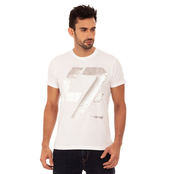 A white t-shirt with the Silver 47 logo
