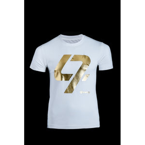 A white t-shirt with the Gold 47 logo