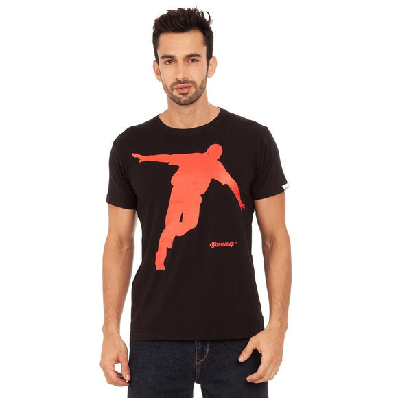 A Black t-shirt with the Red Celebration logo
