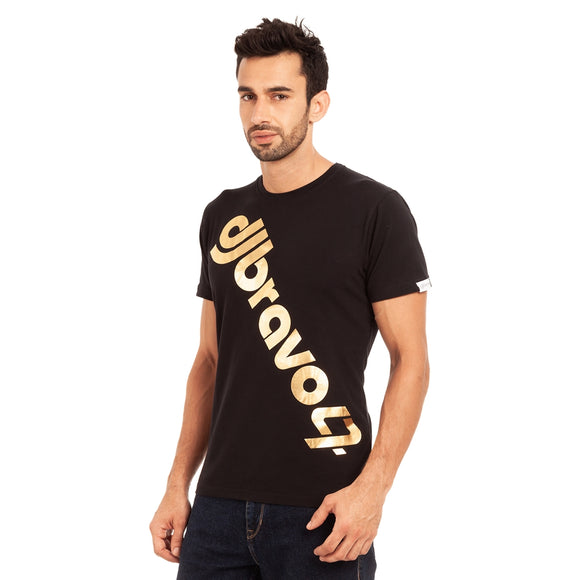 A Black t-shirt with the Gold djbravo47 logo