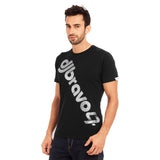 A Black t-shirt with the Siver djbravo47 logo