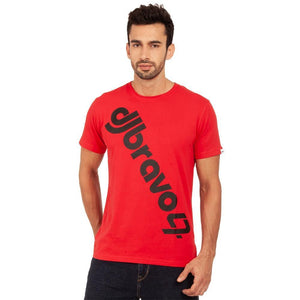 A Red t-shirt with the Black djbravo47 logo
