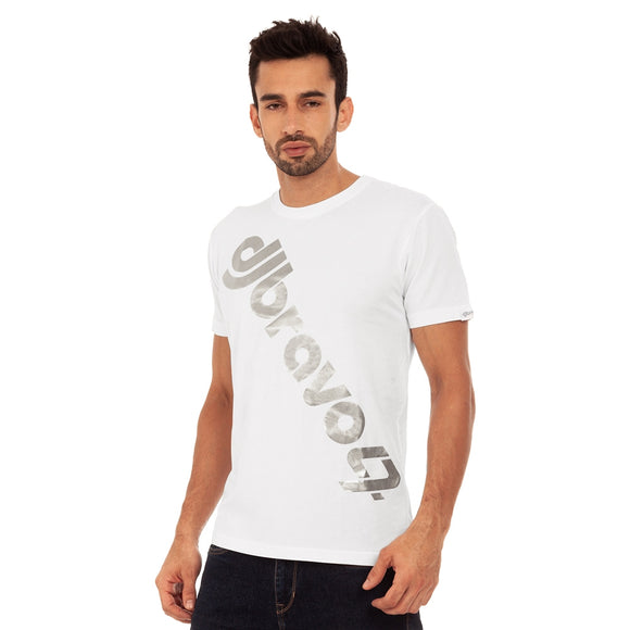 A white t-shirt with the Silver djbravo47 logo