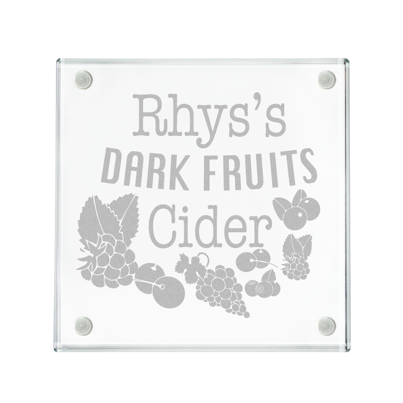 Personalised Engraved Dark Fruits Cider Coaster Birthday Gift