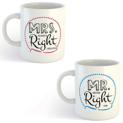 Personalised Mr & Mrs Right Mug Wedding Anniversary gift with optional message