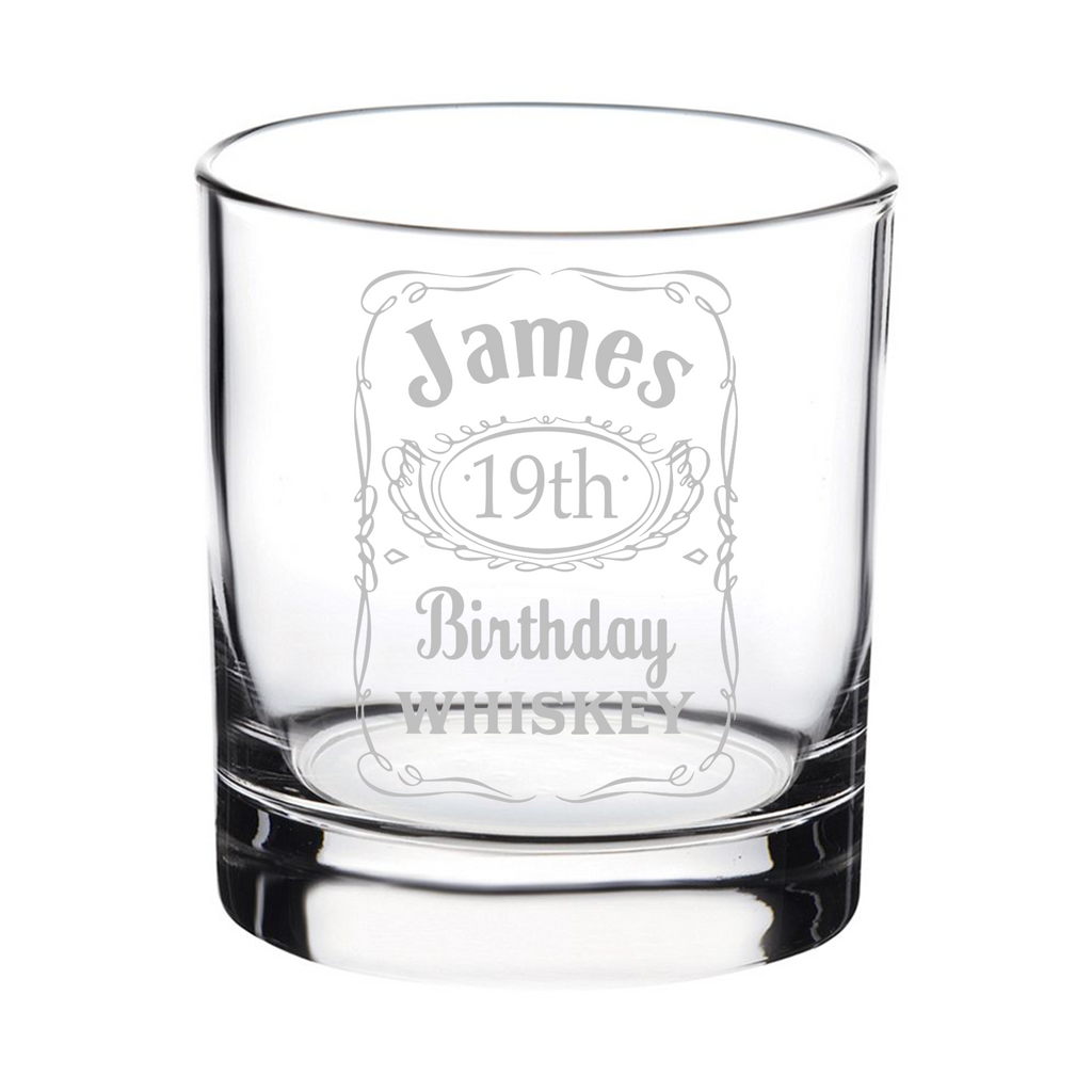 Personalised Engraved Jack Daniels Style Whisky Glass Birthday